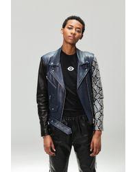 VEDA - Jayne Leather Jacket Navy Snake Combo - Lyst