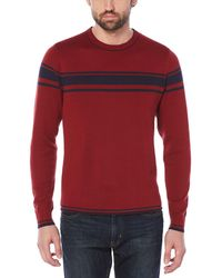 Original Penguin - Reversible Chest Stripe Crew Sweater - Lyst