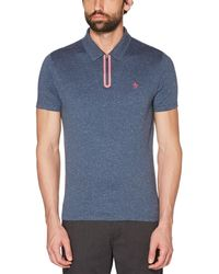 Original Penguin - Seam Seal Zip-up Polo - Lyst