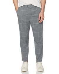 Original Penguin - Stretch Heathered Windowpane Tapered Crop Trouser - Lyst
