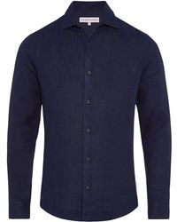 Orlebar Brown - Giles Linen Navy Cutaway Collar Tailored-fit Shirt - Lyst