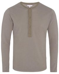 Orlebar Brown - Craine Waffle Henley-t-shirt In Storm - Lyst