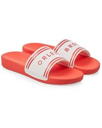 Orlebar Brown - Haddon Slipper Mit Logo In Weiß/rot - Lyst