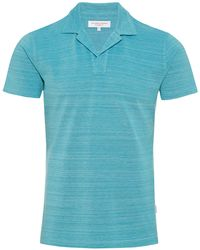Orlebar Brown - Felix Pique Scuba Blue/cloud Melange Resort Polo - Lyst