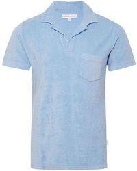 Orlebar Brown - Terry Towelling Powder Blue Towelling Resort Polo - Lyst