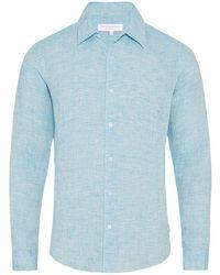 Orlebar Brown - Morton Linen Azure Tailored-fit Linen Shirt - Lyst