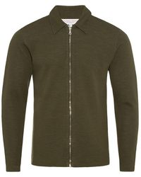 Orlebar Brown - Brendon Merino Military Green/grey Mel Zip-through Jacket - Lyst