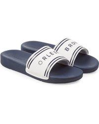 Orlebar Brown - Haddon White/navy Logo Slide Sandals - Lyst