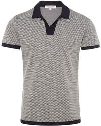 Orlebar Brown - Felix Jacquard Navy/cloud Pique Vintage Resort Polo - Lyst
