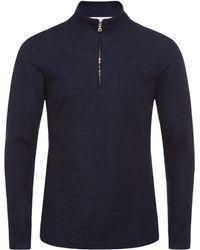 Orlebar Brown - Neilson Merino T-shirt Mit Körperbetonter Passform Und Trichterkragen In Navy/dark Butterfly - Lyst
