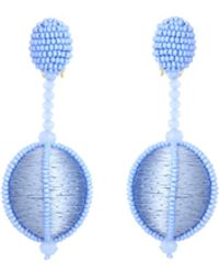 Oscar de la Renta - Cornflower Dropped Bead Earrings - Lyst