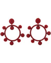 Oscar de la Renta - Carmine Silk Ball Hoop Earrings - Lyst