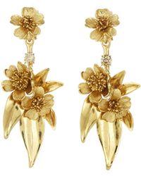 Oscar de la Renta - Delicate Flower Earrings - Lyst
