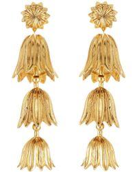 Oscar de la Renta - Gold Tiered Flower Earrings - Lyst