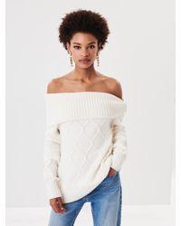Oscar de la Renta - Off-the-shoulder Cable Knit Pullover - Lyst