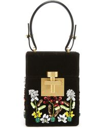 Oscar de la Renta - Black Embroidered Velvet Mini Alibi Bag - Lyst