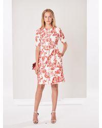 Oscar de la Renta - Belted Floral Toile Textured Cotton Dress - Lyst