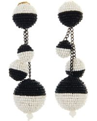 Oscar de la Renta - Black And White Beaded Ball Earrings - Lyst
