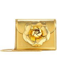 Oscar de la Renta - Gold Saffiano Mini Tro Bag - Lyst