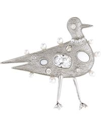 Oscar de la Renta - Crystal Jeweled Seagull Broach - Lyst