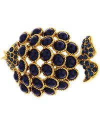 Oscar de la Renta - Crystal Cabochon Fish Brooch - Lyst