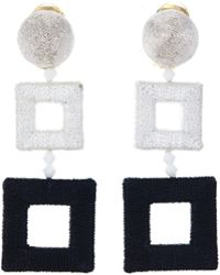 Oscar de la Renta - Wrapped Double Square C Earring - Lyst