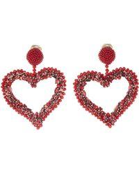 Oscar de la Renta - Beaded Heart Outline Earrings - Lyst