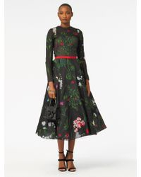 Oscar de la Renta - Long-sleeve Belted Floral-embroidered Fit-and-flare Mesh Evening Gown - Lyst