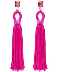 Oscar de la Renta - Long Crystal & Silk Tassel Earrings - Lyst