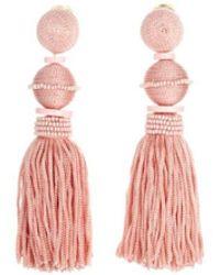 Oscar de la Renta   Grapefruit Ball Tassel Earrings   Lyst