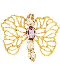 Oscar de la Renta - Coral Branch Crystal Brooch - Lyst