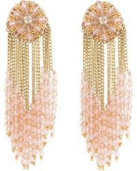 bd4180268737 Oscar de la Renta - Chain Cluster Beaded Earrings - Lyst
