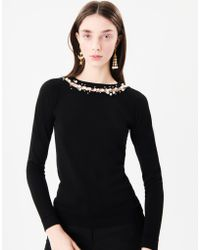 Oscar de la Renta - Pearl-embroidered Wool And Silk-blend Pullover - Lyst