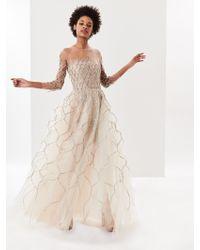Oscar de la Renta - Lamé Fishnet Embroidered Tulle Illusion-neck Gown - Lyst