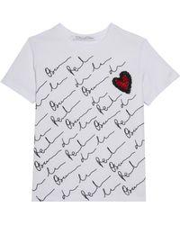 Oscar de la Renta - Oscar Sign W/ Heart Embroidered Tshirt - Lyst