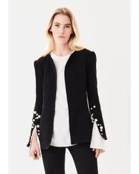 Oscar de la Renta - Pearl-embroidered Stretch-wool Crepe Jacket - Lyst