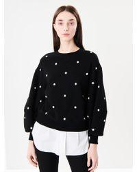 Oscar de la Renta - Pearl Embroidered Cotton Terrycloth Sweatshirt - Lyst