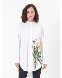Oscar de la Renta - Dandelion-embroidered Stretch-cotton Poplin Blouse - Lyst