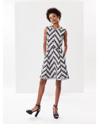 Oscar de la Renta - Chevron Check Tweed Dress - Lyst