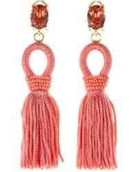 Oscar de la Renta - Short Silk Tassel Earrings - Lyst