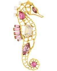 Oscar de la Renta - Seahorse Crystal Brooch - Lyst