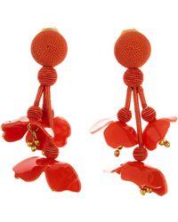 Oscar de la Renta - White Falling Flower Earrings - Lyst