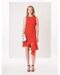 Oscar de la Renta - Asymmetric Stretch-wool Crepe Dress - Lyst