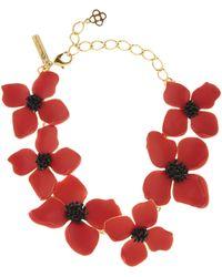 Oscar de la Renta - Cayenne Painted Flower Necklace - Lyst