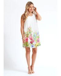 Apricot Minikleid »Summer Floral Border Pleat Tunic« mit Faltenlegung am Ausschnitt