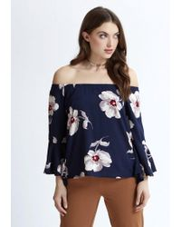 Apricot - Schlupfbluse »Floral Print Bardot Top« mit Bardot-Ausschnitt - Lyst