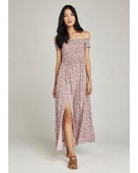 Apricot - Maxikleid »Bardot Vintage Ditsy Split Maxi Dress« mit Bardot-Ausschnitt - Lyst