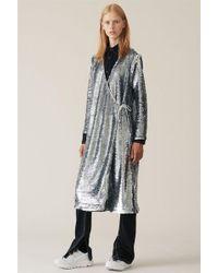 Ganni - Sequins Wrap Dress In Silver - Lyst