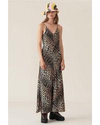 3e7e4ae5 Ganni - Silk Stretch Leopard Slip Dress - Lyst