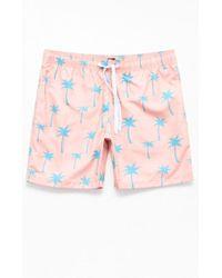 5f2355a4b5686 Tommy Hilfiger Pink Palm Tree Printed Mens Size Xl Swim Trunks in ...